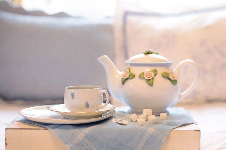 image of a cup of tea as set for a chat